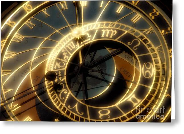 Astronomical Clock Greeting Cards - Marking Time Greeting Card by Ann Garrett