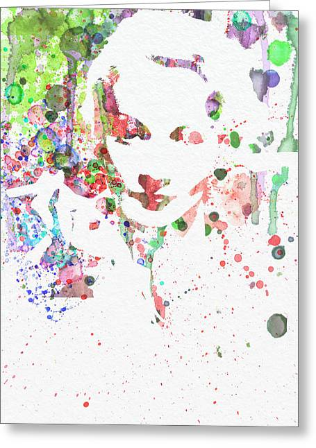 Film Watercolor Greeting Cards - Marlene Dietrich 2 Greeting Card by Naxart Studio