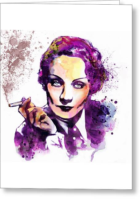 Smoking Cigarette Greeting Cards - Marlene Dietrich watercolor portrait Greeting Card by Marian Voicu