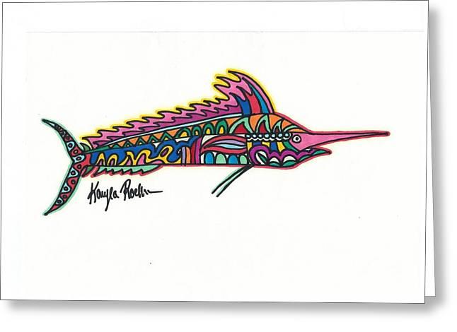 Swordfish Drawings Greeting Cards - Marlin Greeting Card by Kayla Roeber