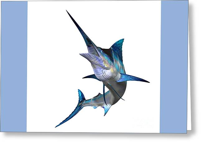 Swordfish Greeting Cards - Marlin Profile Greeting Card by Corey Ford