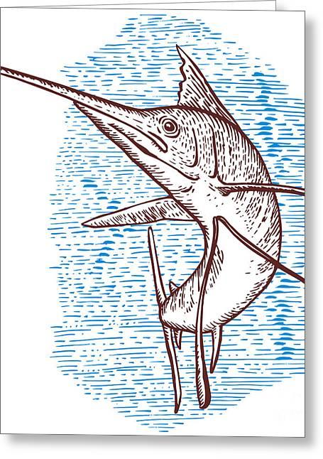 Swordfish Greeting Cards - Marlin Woodcut Greeting Card by Aloysius Patrimonio