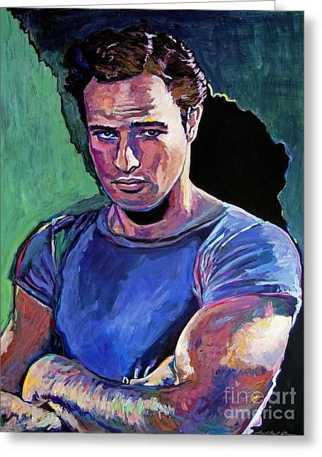 Movie Star Paintings Greeting Cards - Marlon Brando Greeting Card by David Lloyd Glover