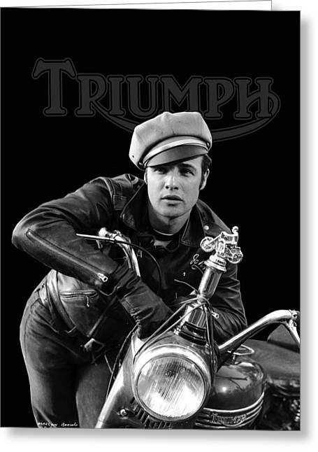 Marlon Brando Triumph Greeting Card by Mark Rogan