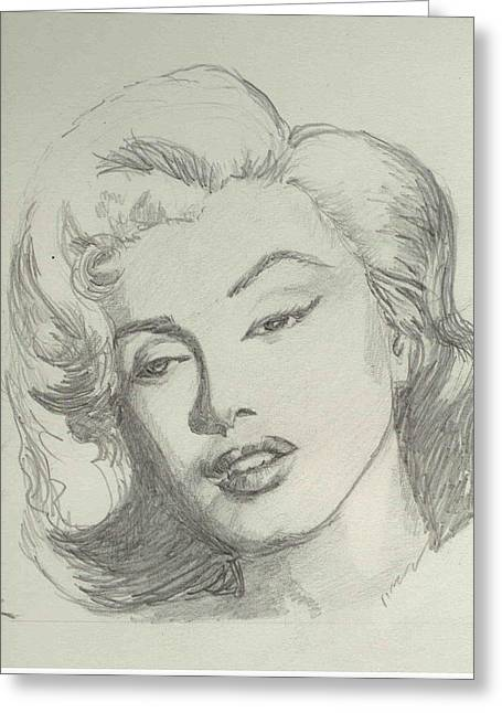 Marlyn Greeting Cards - Marlyn Munroe Greeting Card by Asha Sudhaker Shenoy