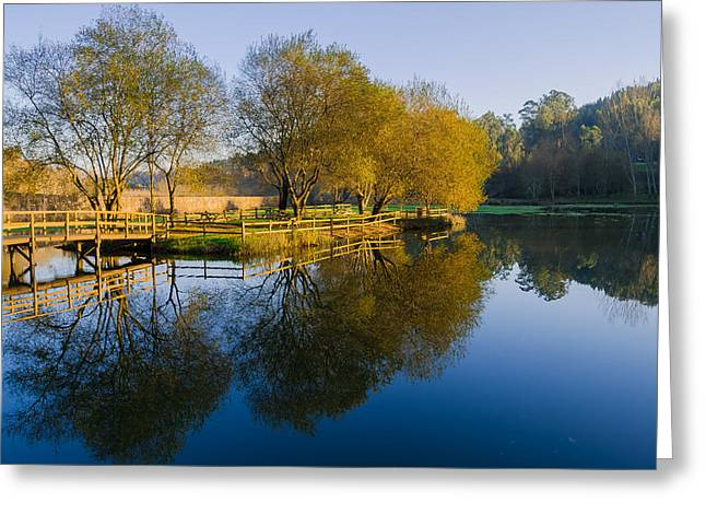 Reflections In River Greeting Cards - Marnel River and The Bridge Greeting Card by Alexandre Martins