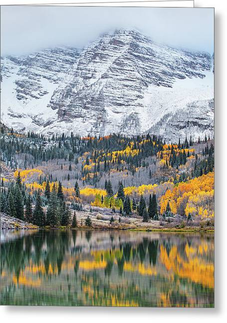 Maroon Bells Cloudy Fall Greeting Card by Darren White