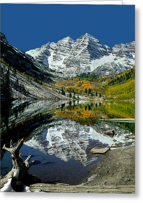 Rocks Greeting Cards - Maroon Bells Reflect 210426 Greeting Card by Ed  Cooper Photography