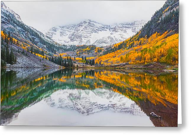 Maroon Bells Seasonal Clash Greeting Card by Darren White