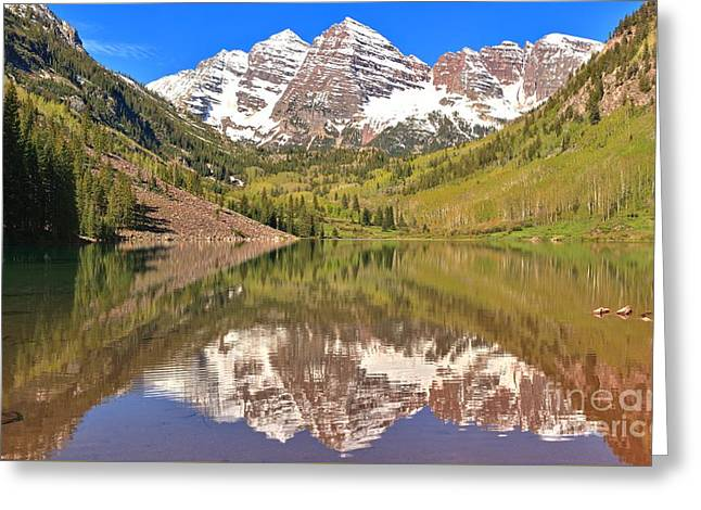 Rocky In Spring Greeting Cards - Maroon Bells Wilderness Reflections Greeting Card by Adam Jewell