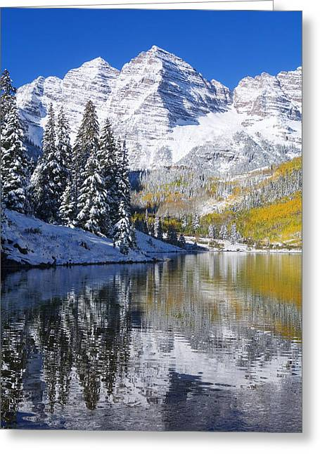 Snow Capped Greeting Cards - Maroon Lake and Bells 2 Greeting Card by Ron Dahlquist - Printscapes