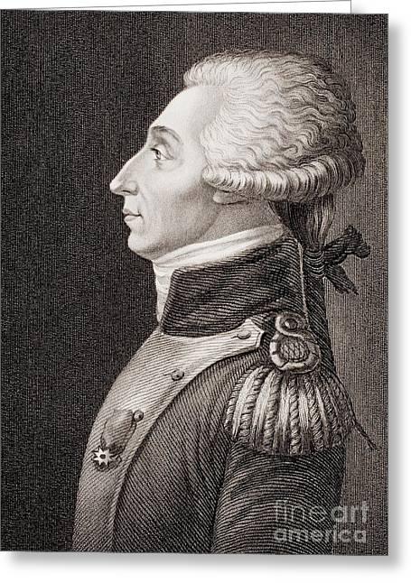 Marquis De Lafayette Greeting Card by American School