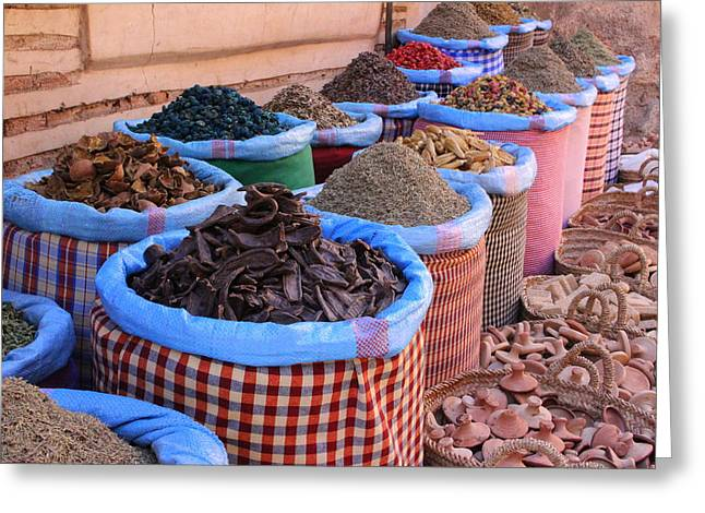 Rabat Greeting Cards - Marrakech Spice Market Greeting Card by Ramona Johnston