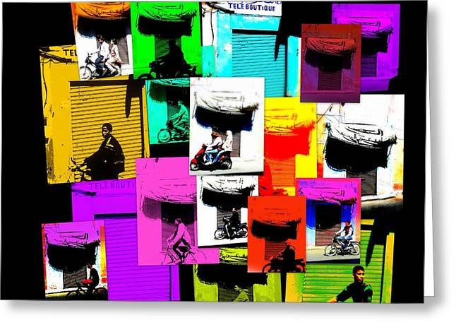 Marrakech Greeting Cards - Marrakech traffic scenes Greeting Card by Funkpix Photo Hunter