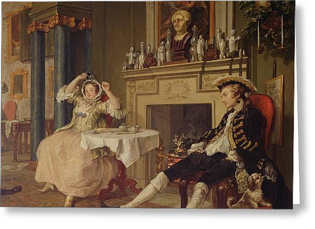 Marriage a la Mode II The Tete a Tete Greeting Card by William Hogarth