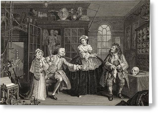 Hogarth Greeting Cards - Marriage A La Mode Scene With The Quack Greeting Card by Vintage Design Pics