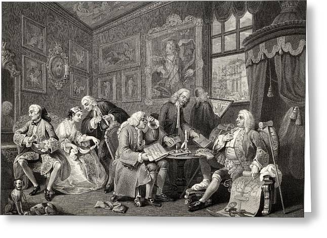 Hogarth Greeting Cards - Marriage A La Mode The Contract From Greeting Card by Vintage Design Pics