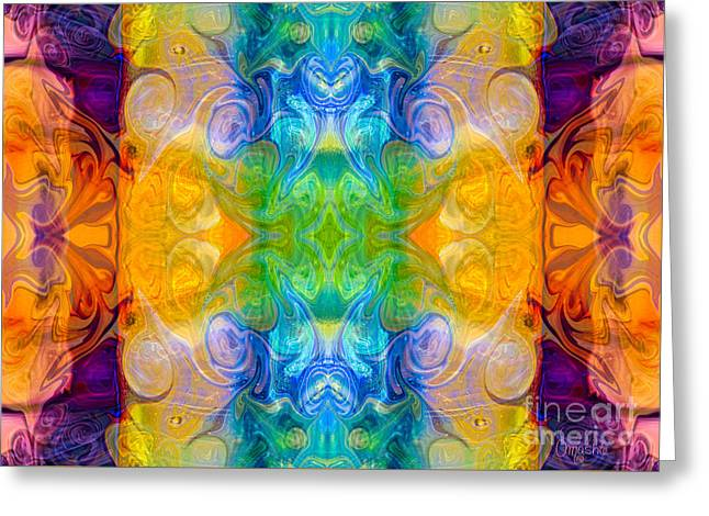 Recently Sold -  - A Hand Mirror Greeting Cards - Marrying A Rainbow Abstract Bliss Art by Omashte Greeting Card by Omaste Witkowski