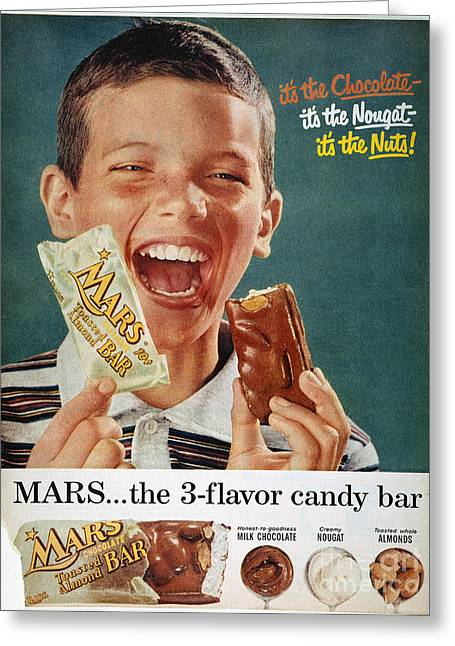 Incorporated Greeting Cards - Mars Bar Ad, 1957 Greeting Card by Granger