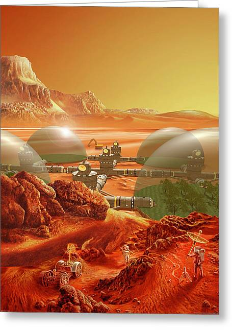 Science Greeting Cards - Mars Colony Greeting Card by Don Dixon