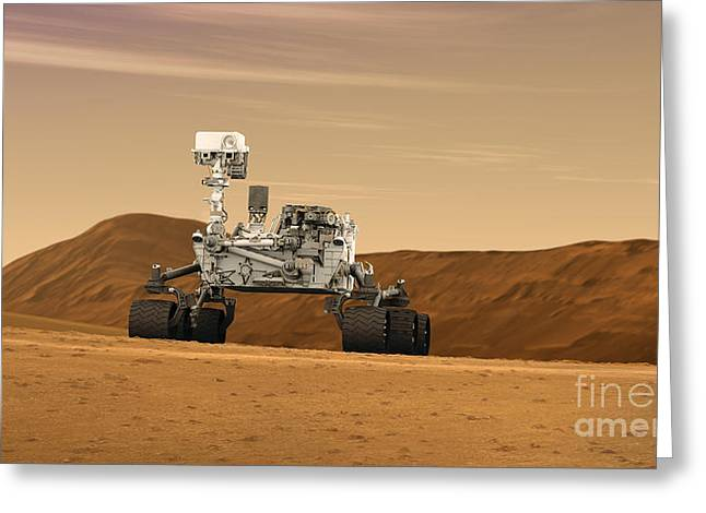 Robotics Greeting Cards - Mars Rover Curiosity, Artists Rendering Greeting Card by NASA/Science Source