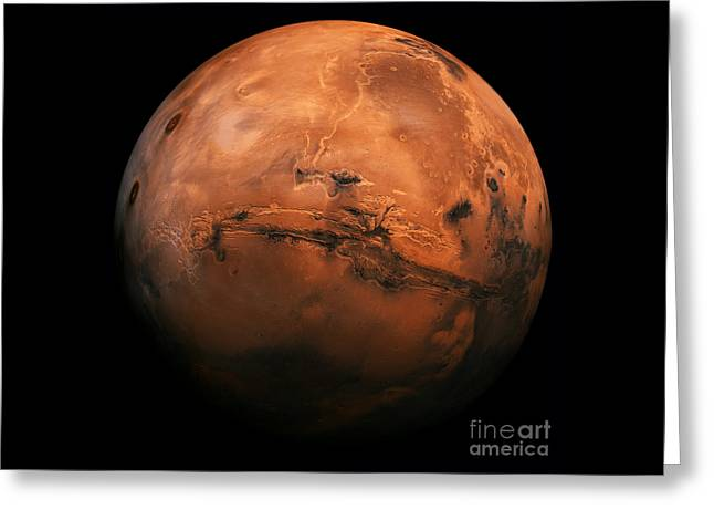 Mars The Red Planet Greeting Card by Edward Fielding
