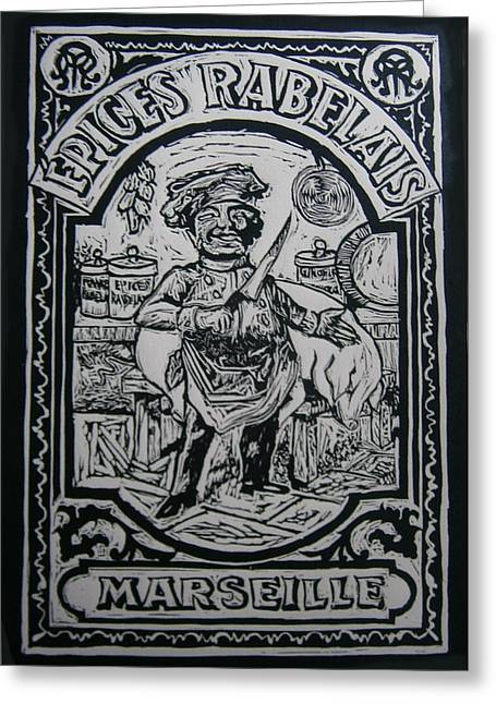 Lino Cut Paintings Greeting Cards - Spice Of France Greeting Card by Mike Moss