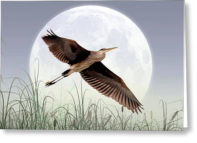 Artistically Altered Greeting Cards - Marsh Mellow Moon Greeting Card by Brian Wallace