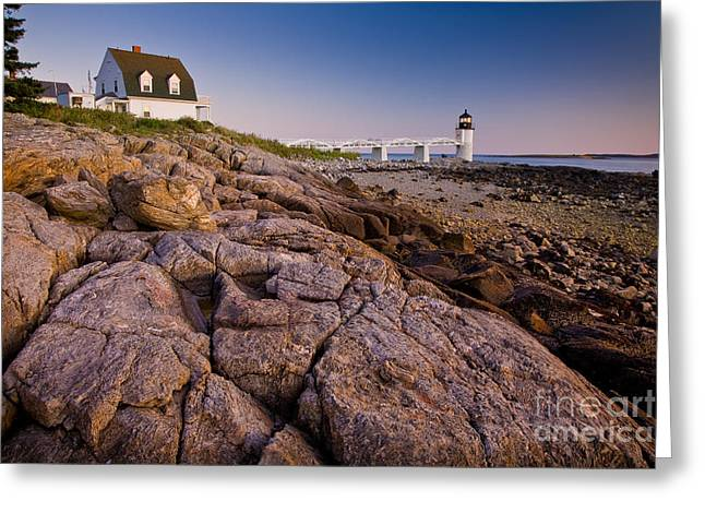 Mid-coast Maine Greeting Cards - Marshal Point Light Sunset Greeting Card by Susan Cole Kelly