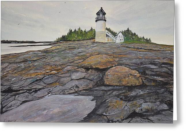 Mid-coast Maine Greeting Cards - Marshal Point Lighthouse Greeting Card by Kellie Chasse