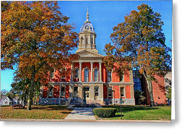Indiana Autumn Greeting Cards - Marshall County Courthouse - Plymouth Indiana Greeting Card by Mountain Dreams