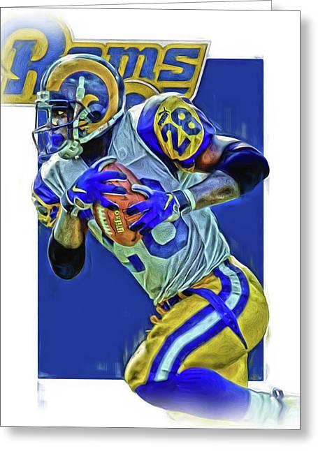 Marshall Faulk Los Angeles Rams Oil Art Greeting Card by Joe Hamilton