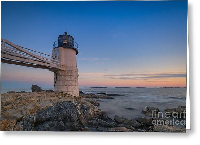 Sailboats In Harbor Greeting Cards - Marshall Point Light at Blue Hour Greeting Card by Michael Ver Sprill
