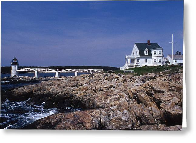Marshall Point Light Greeting Card by Skip Willits