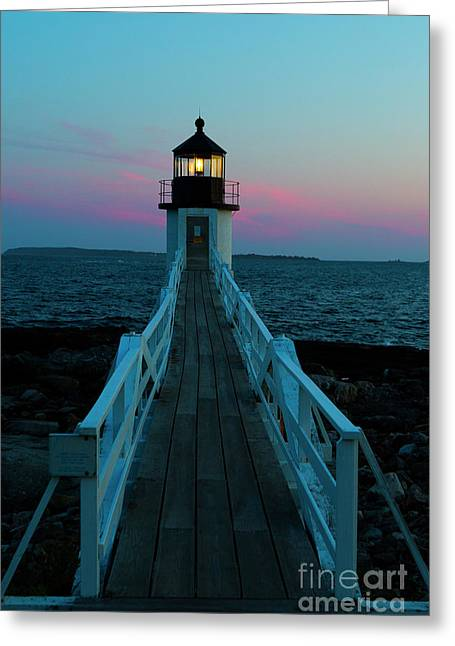 Marshall Point Lighthouse At Sunset Greeting Card by Diane Diederich