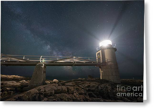 Maine Lighthouses Greeting Cards - Marshall Point Lighthouse Milky Way Rising Greeting Card by Michael Ver Sprill