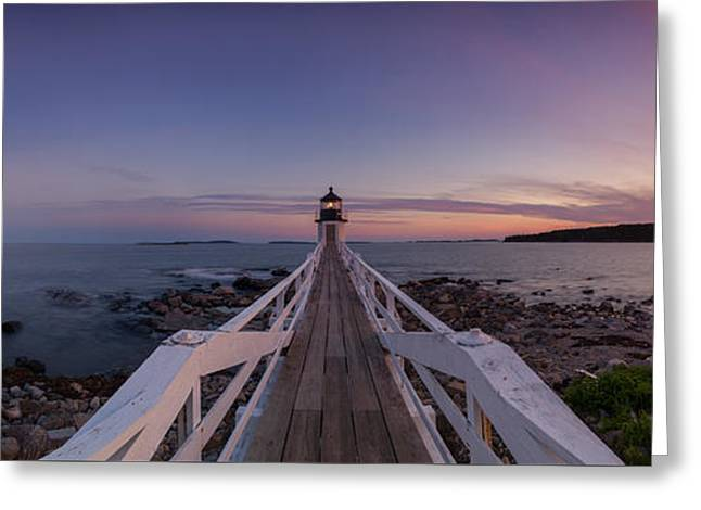 Sailboats In Harbor Greeting Cards - Marshall Point Lighthouse Pano Greeting Card by Michael Ver Sprill