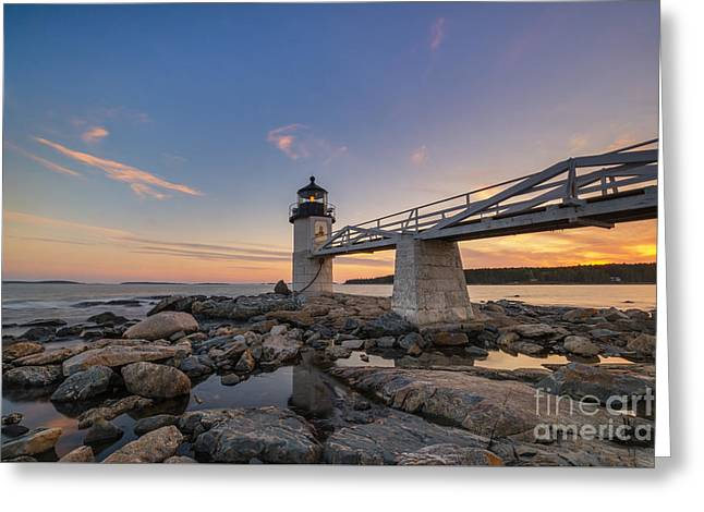 Sailboats In Harbor Greeting Cards - Marshall Point Lighthouse Reflections Greeting Card by Michael Ver Sprill