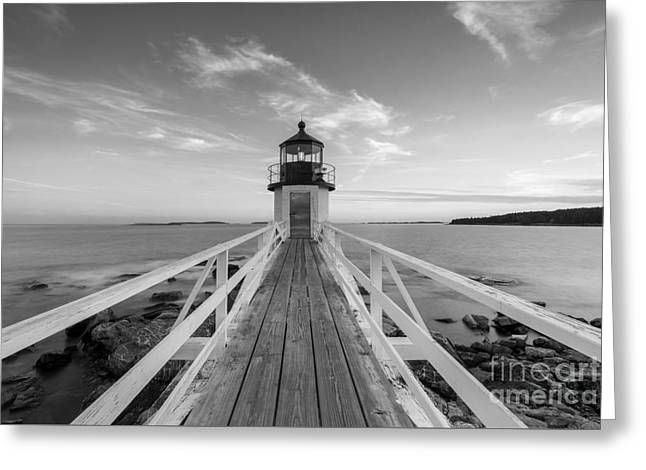 Sailboats In Harbor Greeting Cards - Marshall Point Lighthouse Sunset BW Greeting Card by Michael Ver Sprill
