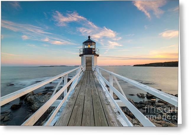 Sailboats In Harbor Greeting Cards - Marshall Point Lighthouse Sunset Greeting Card by Michael Ver Sprill