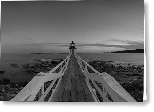 Sailboats In Harbor Greeting Cards - Marshall Point Sunset Panorama BW Greeting Card by Michael Ver Sprill