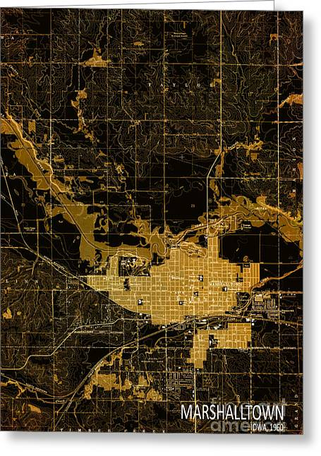 Bedroom Art Greeting Cards - Marshalltown 1960 Old Map Greeting Card by Pablo Franchi