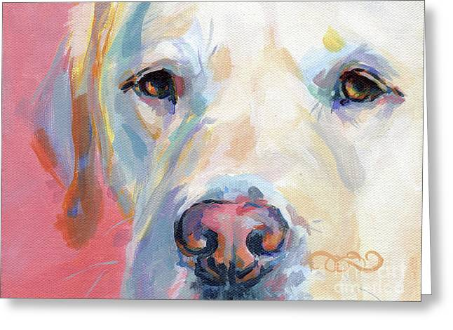 Yellow Dog Paintings Greeting Cards - Marthas Pink Nose Greeting Card by Kimberly Santini