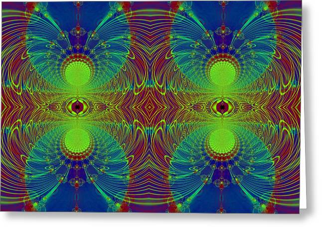 Fractal Orbs Greeting Cards - Martian Orbits Fractal Greeting Card by Rose Santuci-Sofranko
