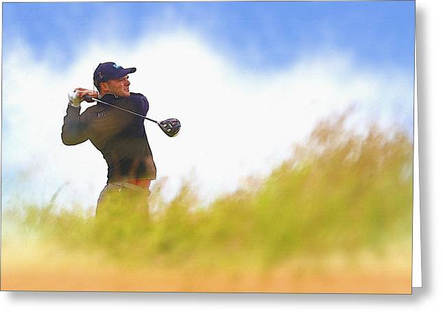 The Tiger Greeting Cards - Martin Kaymer of Germany tees off on the 6th hole Greeting Card by Don Kuing