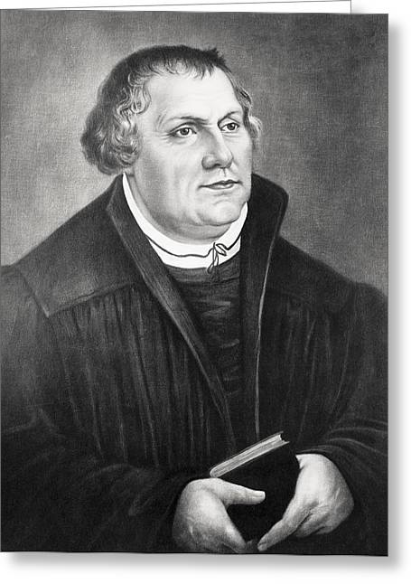 Reformer Drawings Greeting Cards - Martin Luther 1483 To 1546 German Greeting Card by Ken Welsh