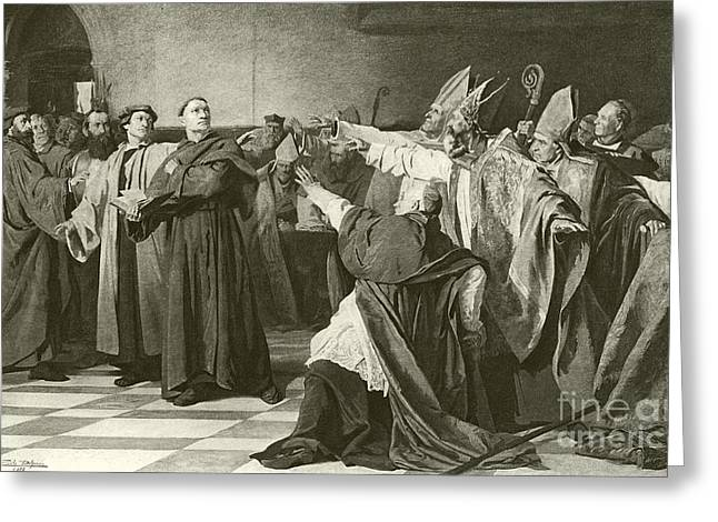 Martin Luther Before The Council Of Worms  Greeting Card by English School