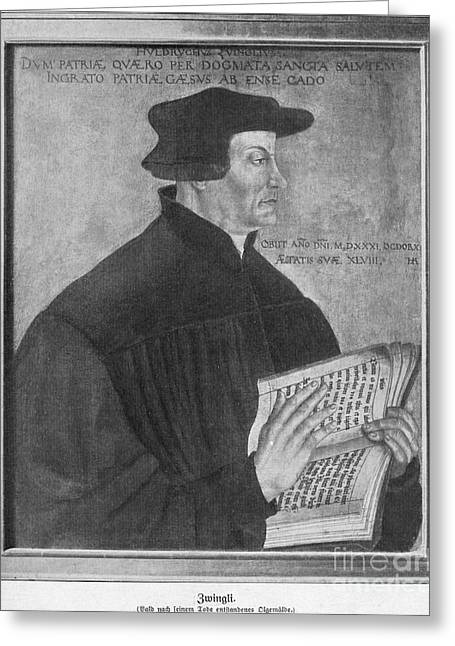 Reform Greeting Cards - Huldrych Zwingli Swiss Reformation Leader Greeting Card by Photo Researchers