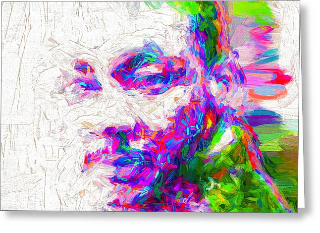 Martin Luther King Jr Mlk Painted Digitally Greeting Card by David Haskett