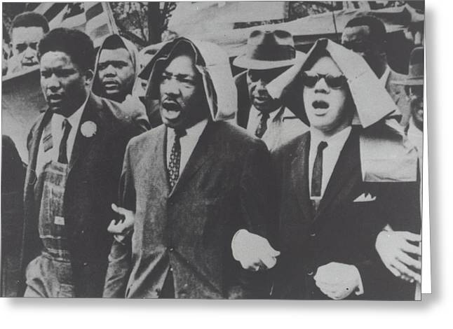 Martin Luther King Taking Part In A Civil Rights Protest March, Montgomery, Alabama Greeting Card by American School